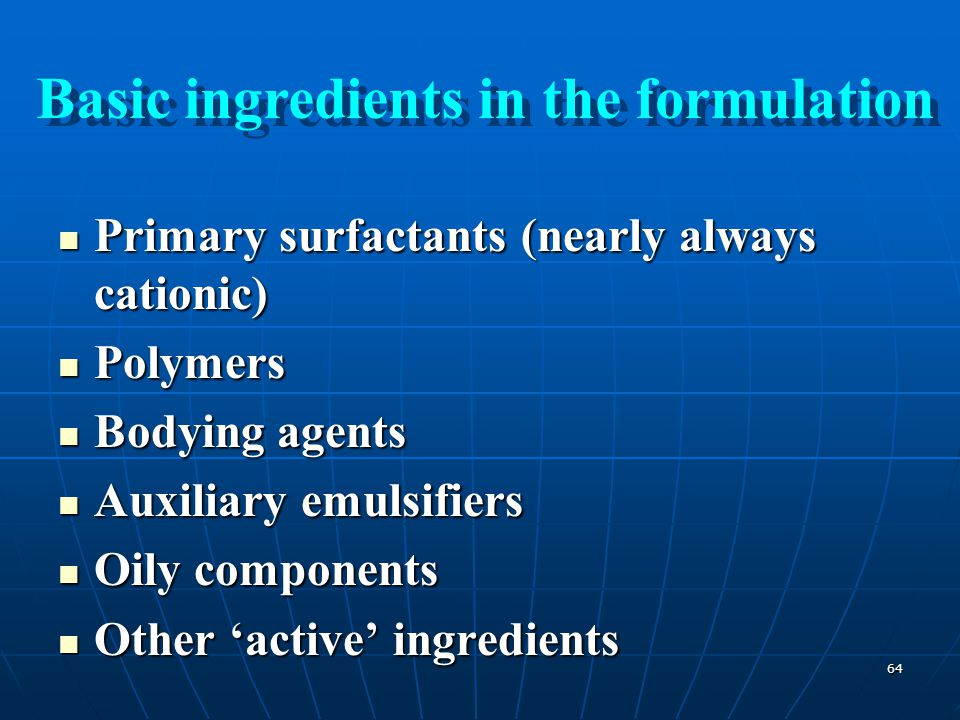 Basic ingredients in the formulation