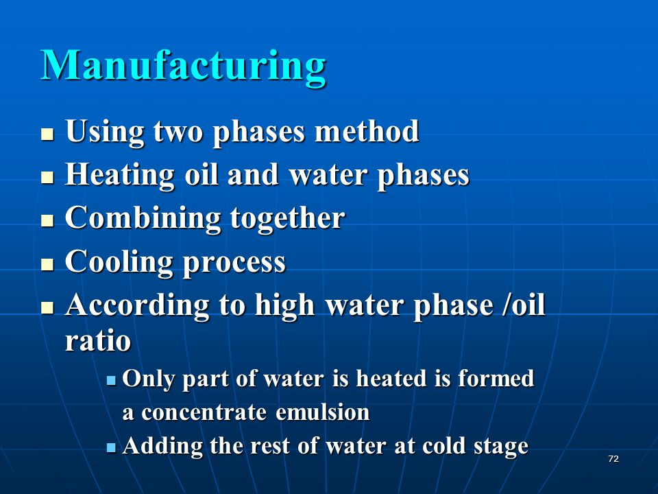 Manufacturing Using two phases method Heating oil and water phases