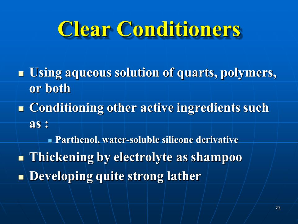 Clear Conditioners Using aqueous solution of quarts, polymers, or both
