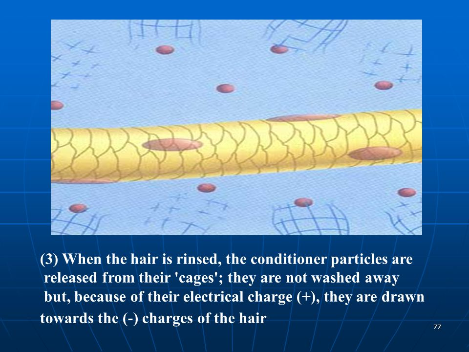 (3) When the hair is rinsed, the conditioner particles are