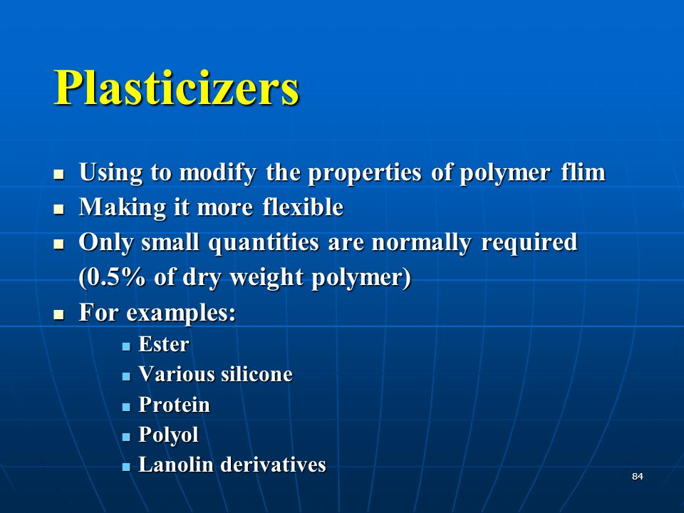 Plasticizers Using to modify the properties of polymer flim
