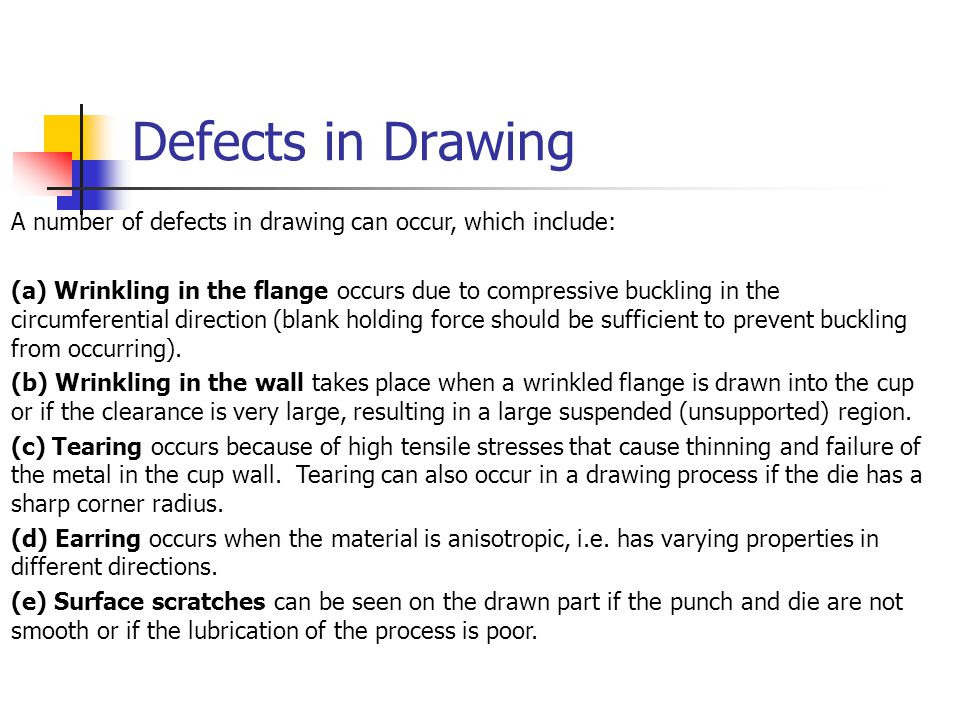 Defects in Drawing A number of defects in drawing can occur, which include: