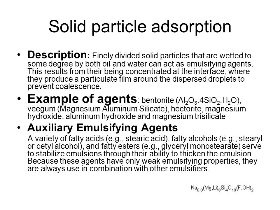Solid particle adsorption