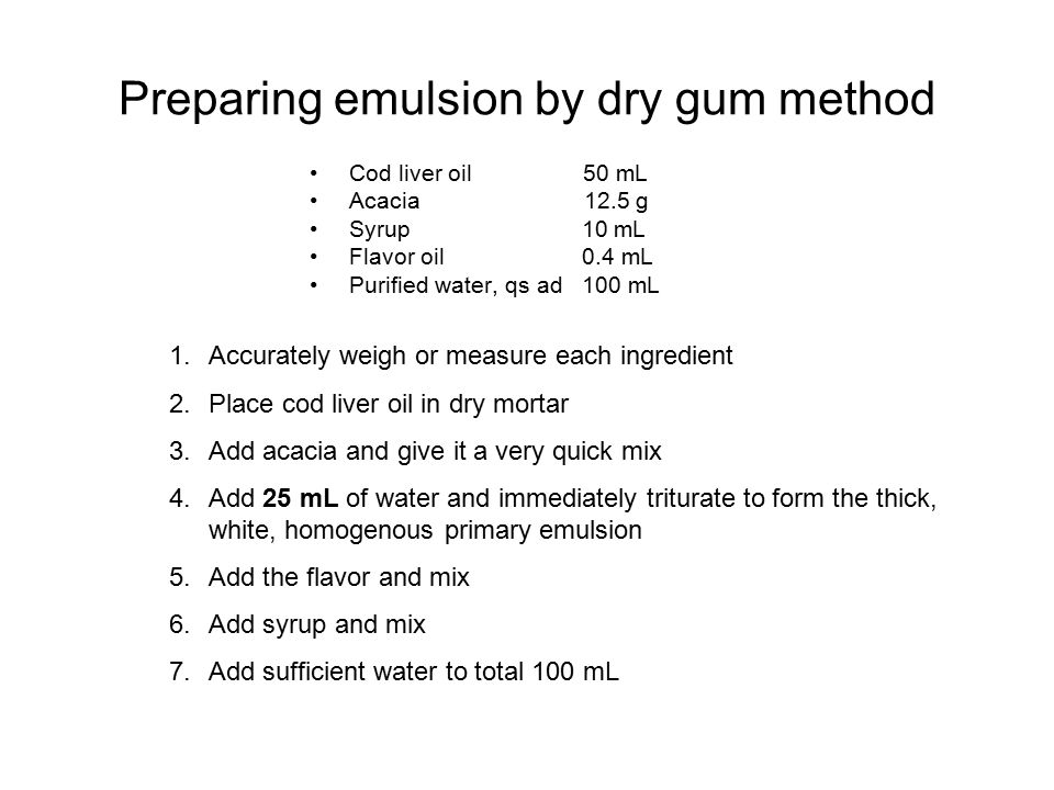 Preparing emulsion by dry gum method