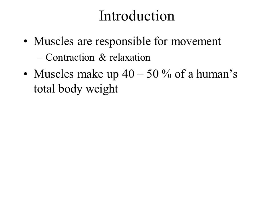 Introduction Muscles are responsible for movement
