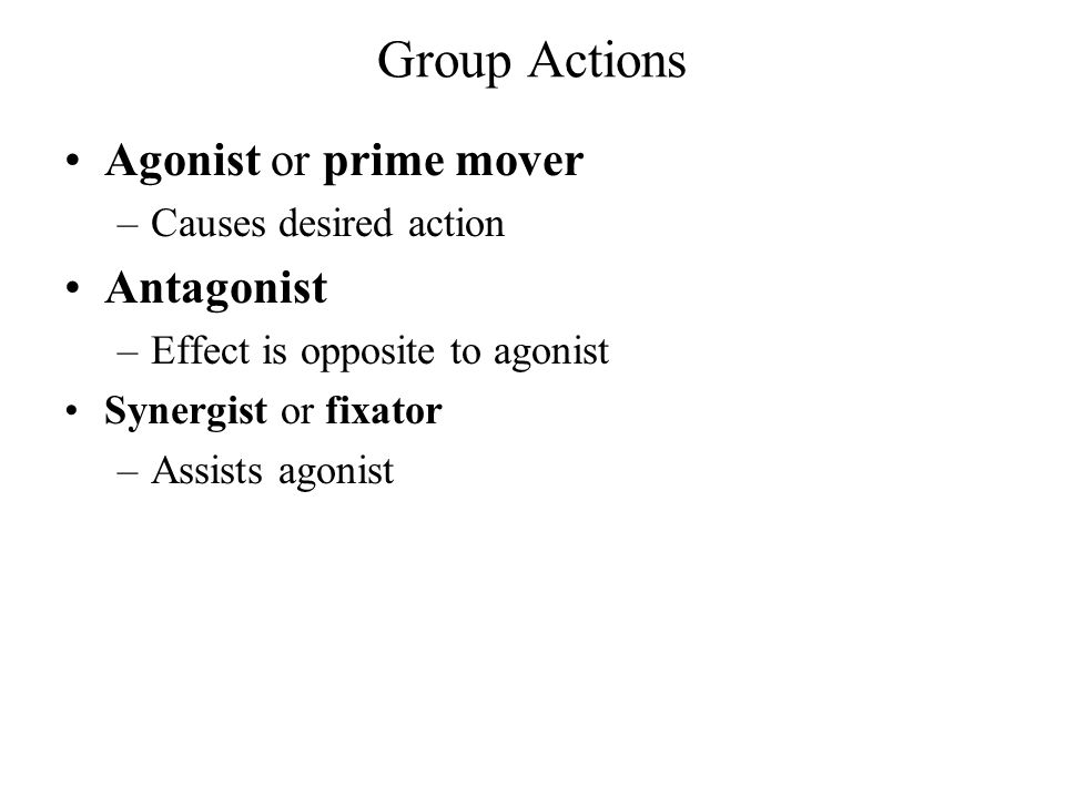 Group Actions Agonist or prime mover Antagonist Causes desired action