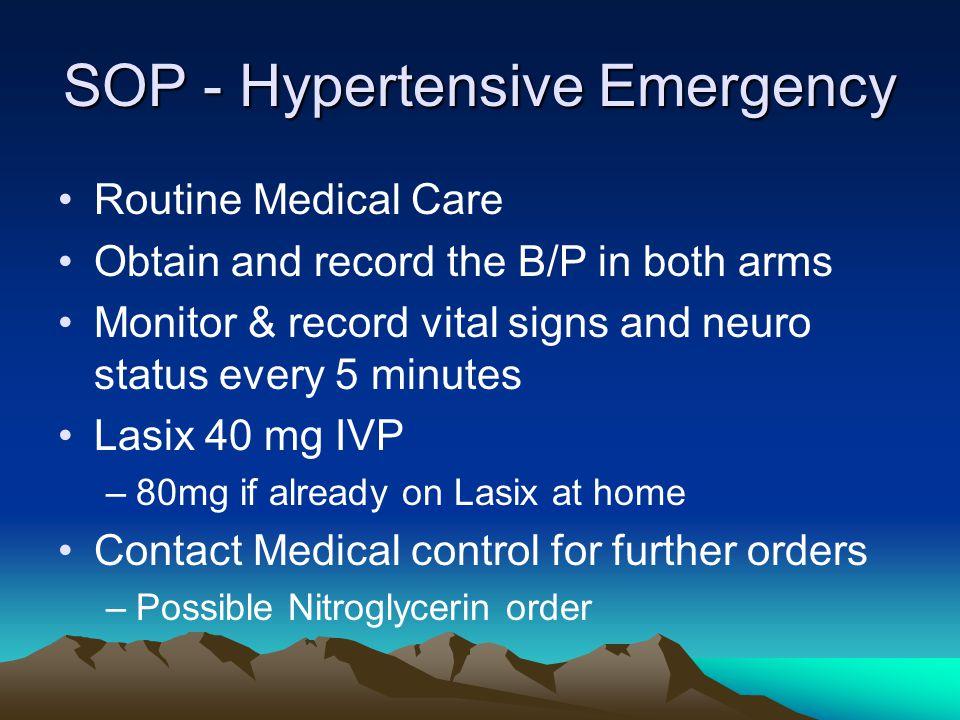 SOP - Hypertensive Emergency