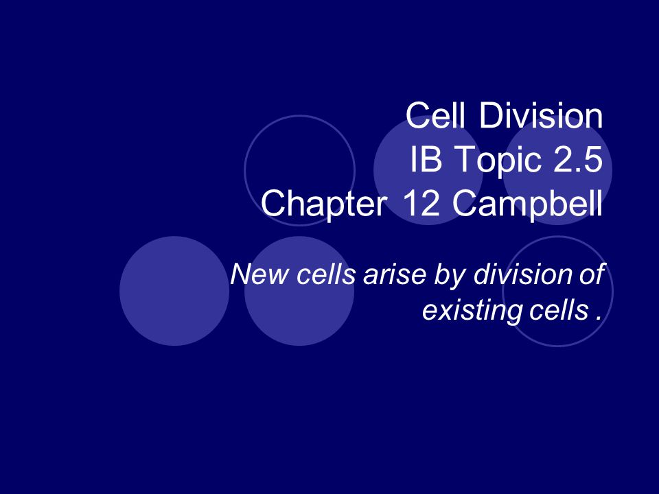 Cell Division IB Topic 2.5 Chapter 12 Campbell