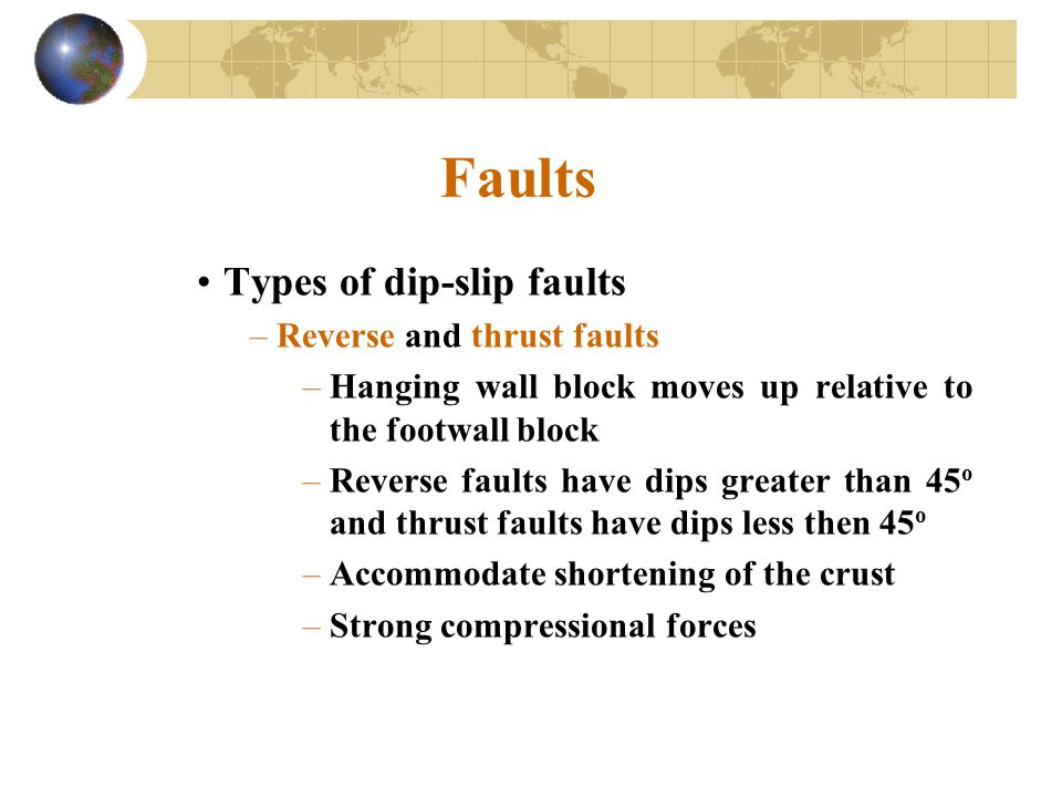 Faults Types of dip-slip faults Reverse and thrust faults
