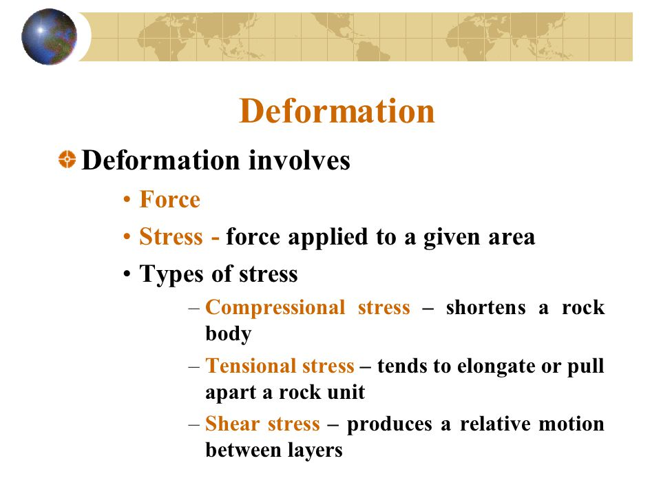 Deformation Deformation involves Force
