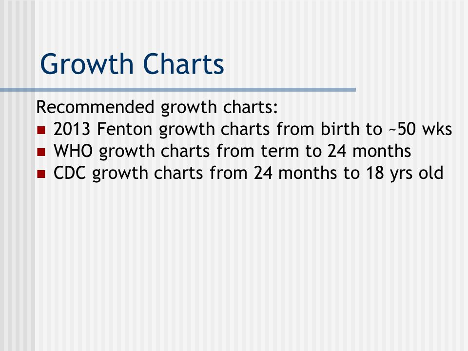 Growth Charts Recommended growth charts: