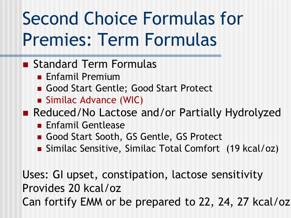 Second Choice Formulas for Premies: Term Formulas