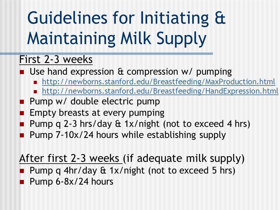 Guidelines for Initiating & Maintaining Milk Supply