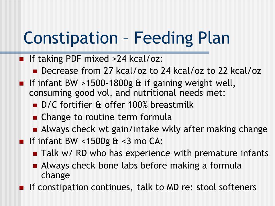 Constipation – Feeding Plan