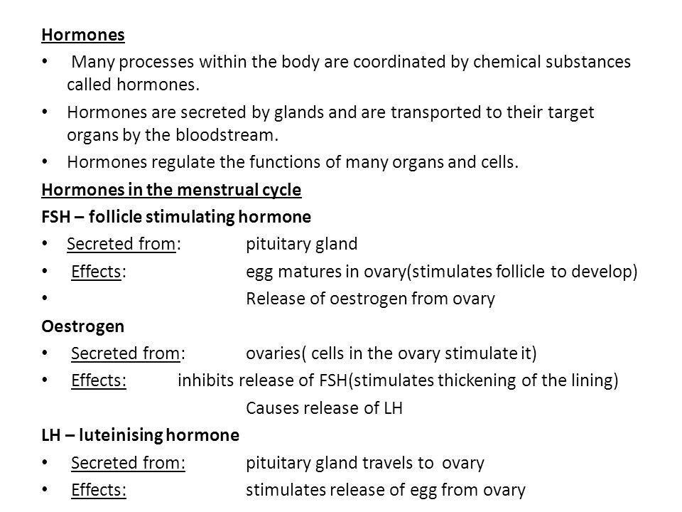 Hormones Many processes within the body are coordinated by chemical substances called hormones.