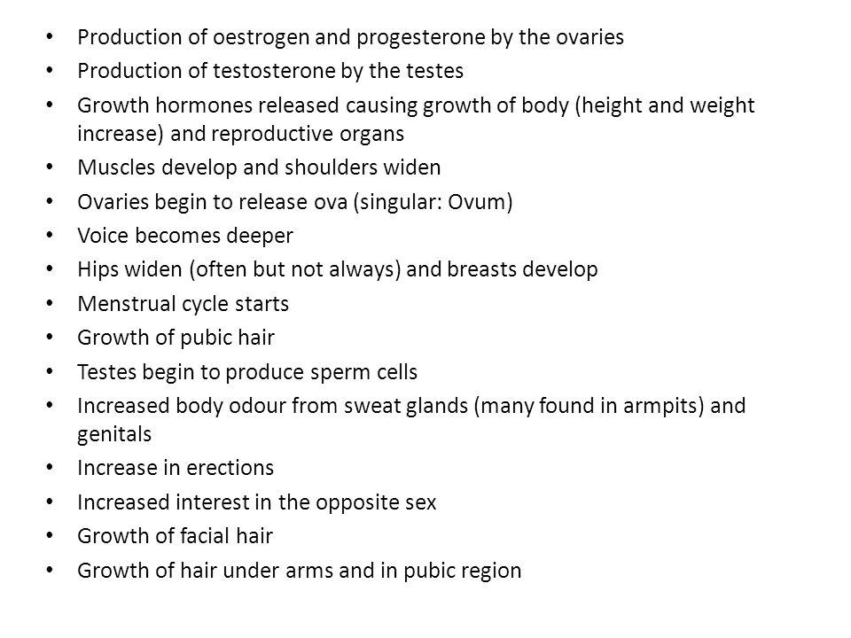 Production of oestrogen and progesterone by the ovaries