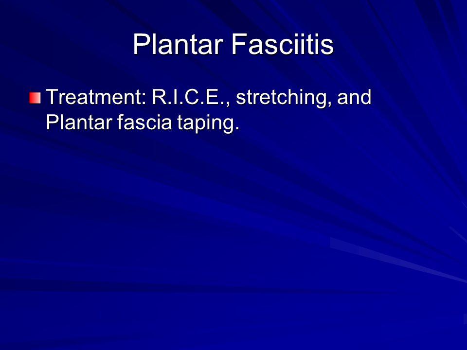Plantar Fasciitis Treatment: R.I.C.E., stretching, and Plantar fascia taping.