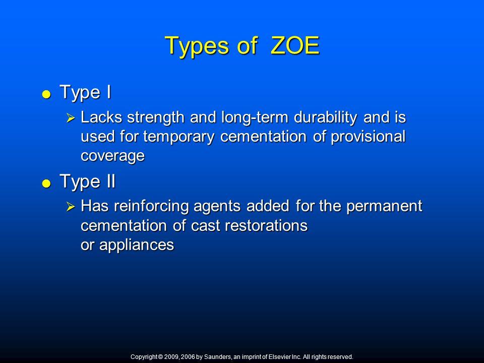 Types of ZOE Type I Type II