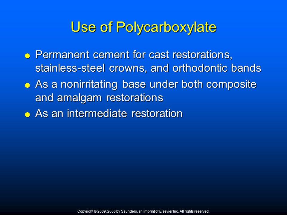 Use of Polycarboxylate