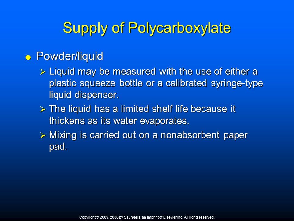 Supply of Polycarboxylate