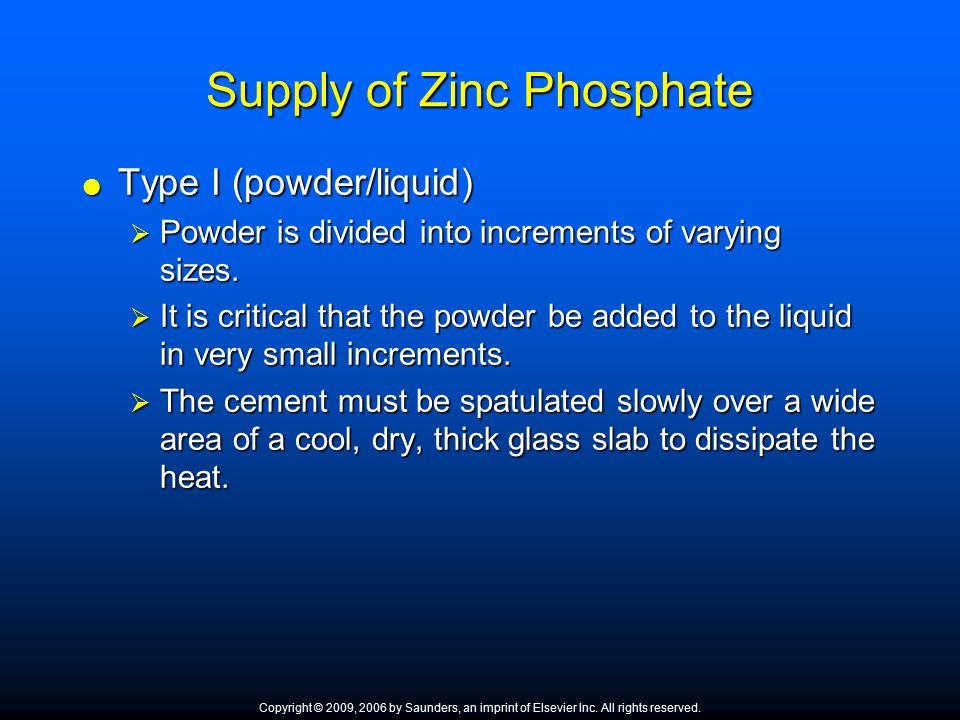 Supply of Zinc Phosphate