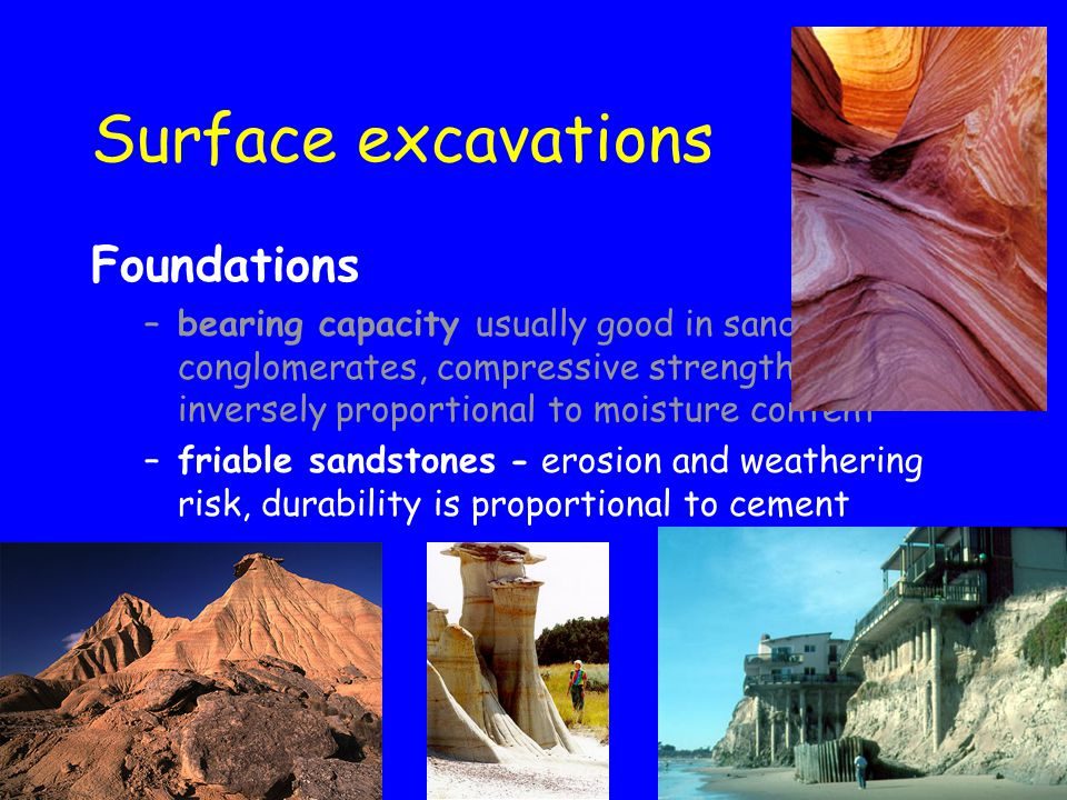 Surface excavations Foundations