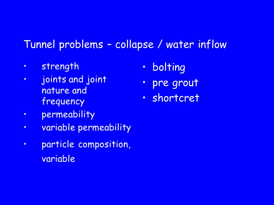 Tunnel problems – collapse / water inflow