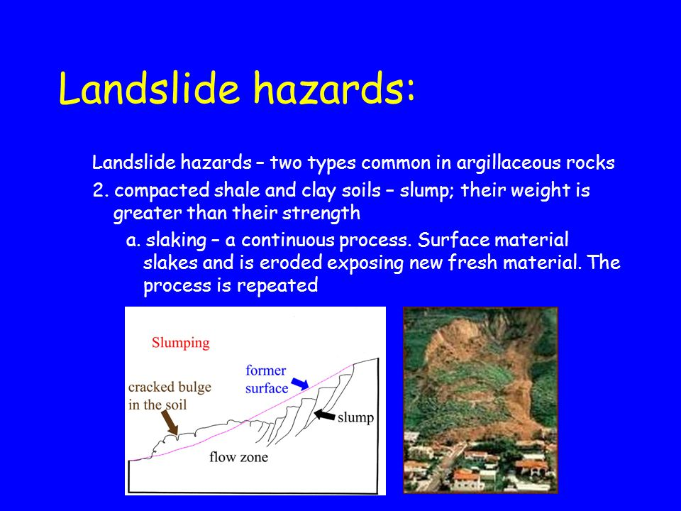 Landslide hazards: Landslide hazards – two types common in argillaceous rocks.