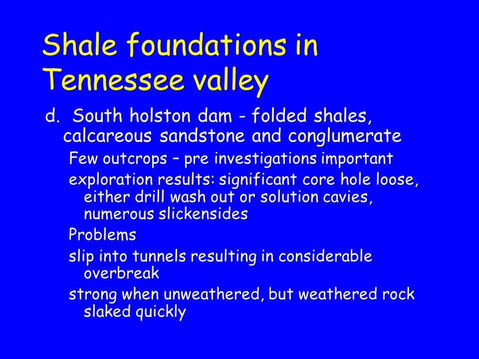 Shale foundations in Tennessee valley