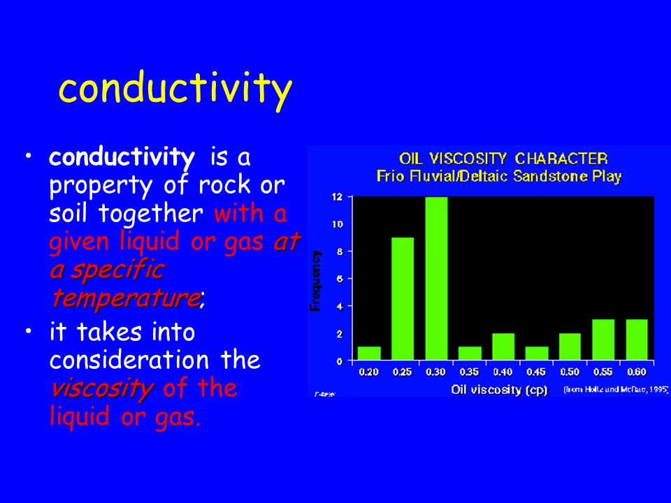 conductivity conductivity is a property of rock or soil together with a given liquid or gas at a specific temperature;