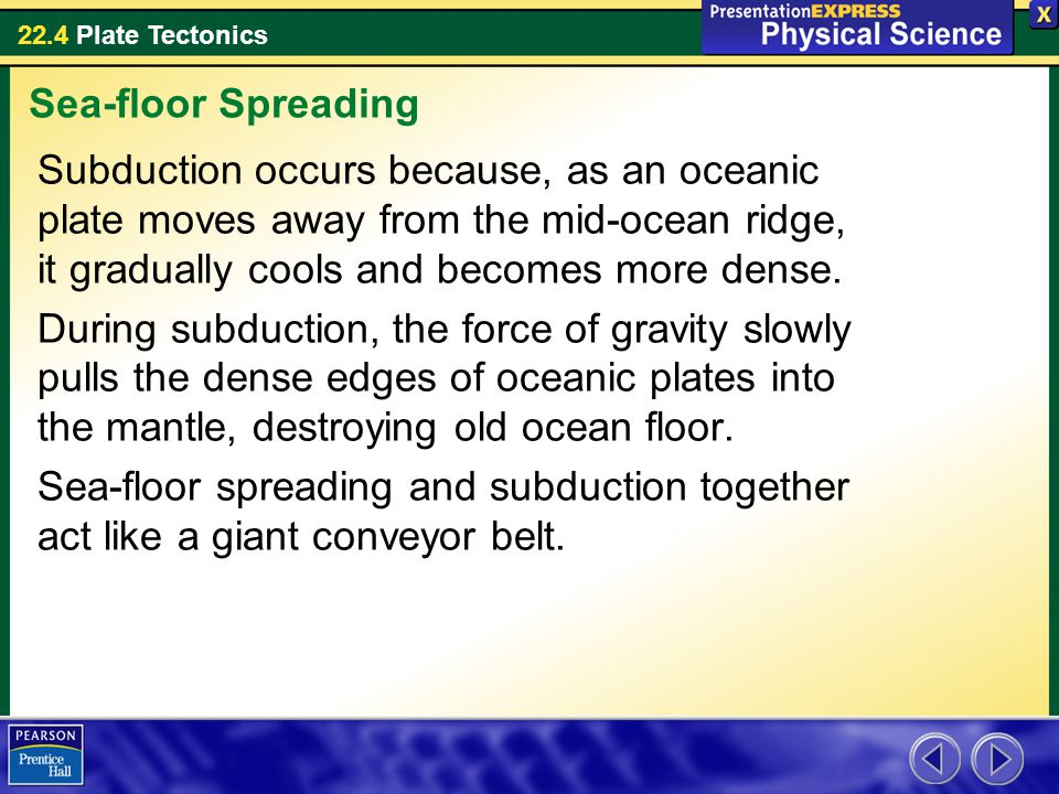 Sea-floor Spreading Subduction occurs because, as an oceanic plate moves away from the mid-ocean ridge, it gradually cools and becomes more dense.