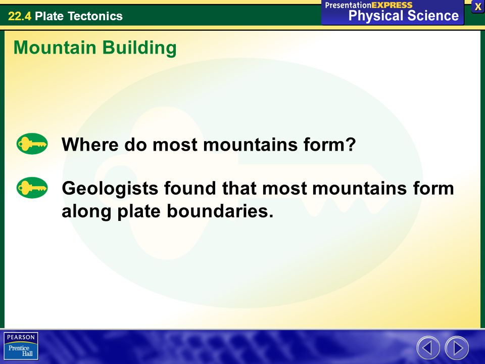 Mountain Building Where do most mountains form.