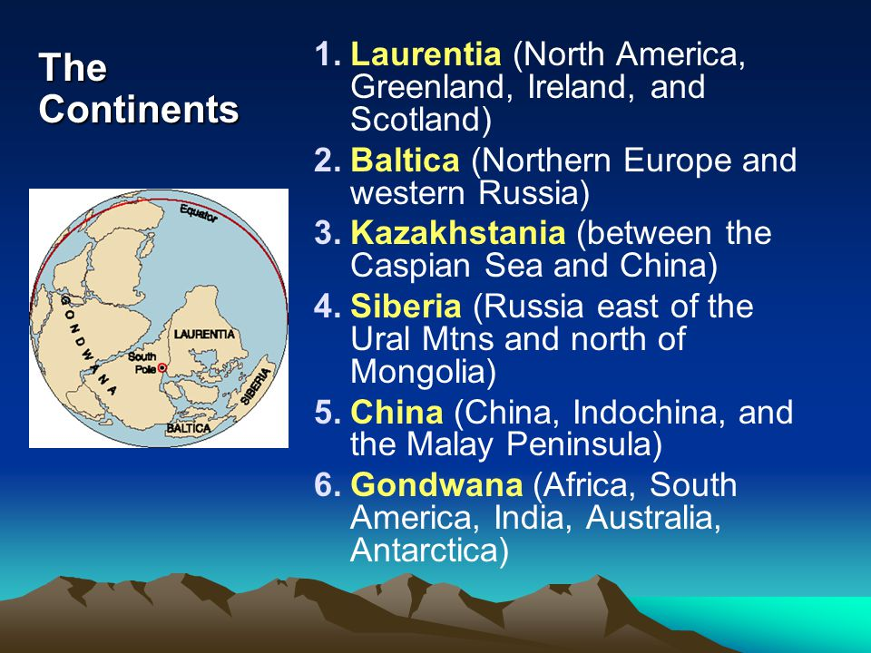 Laurentia (North America, Greenland, Ireland, and Scotland)