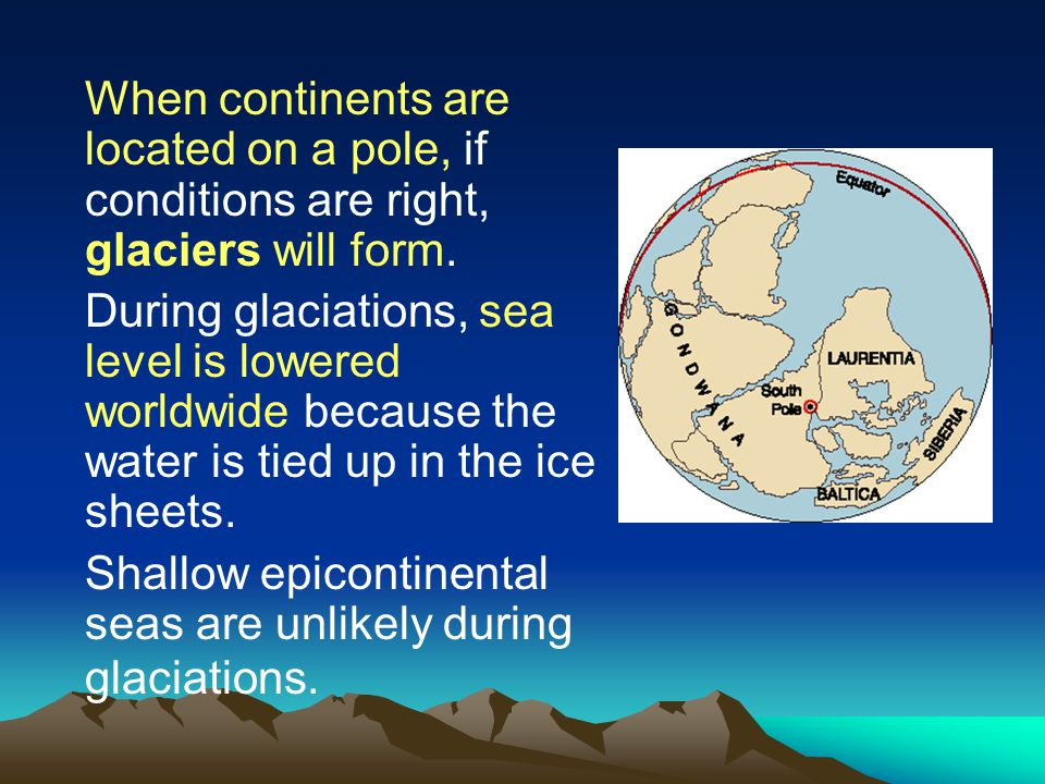 When continents are located on a pole, if conditions are right, glaciers will form.