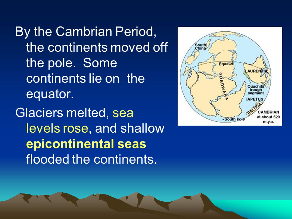 By the Cambrian Period, the continents moved off the pole