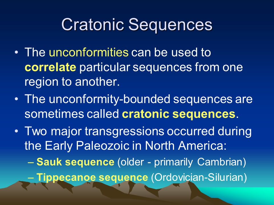 Cratonic Sequences The unconformities can be used to correlate particular sequences from one region to another.