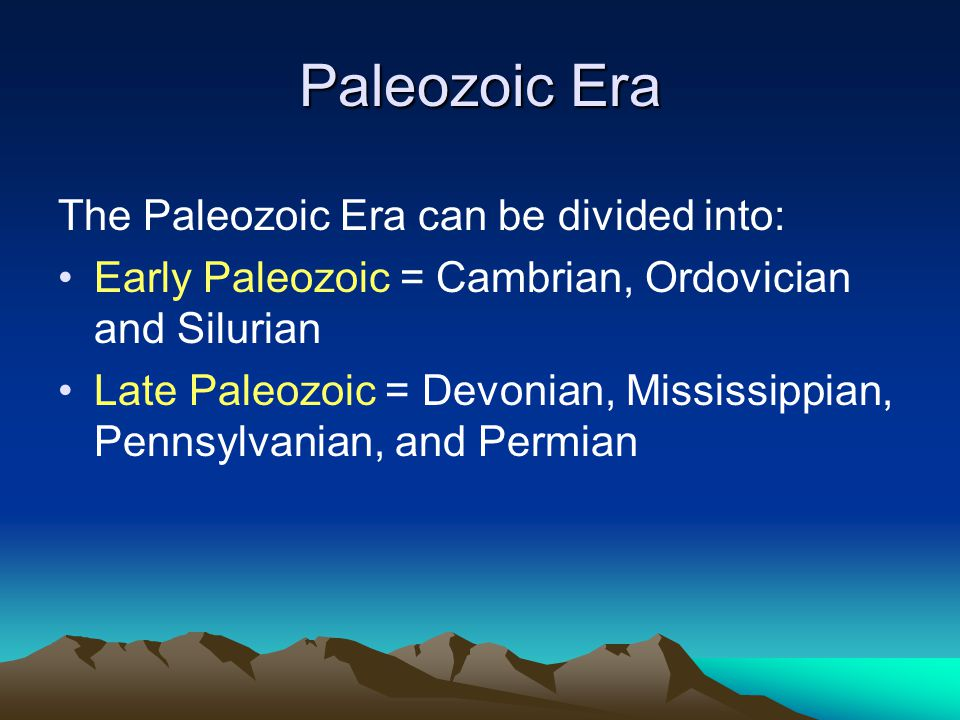 Paleozoic Era The Paleozoic Era can be divided into: