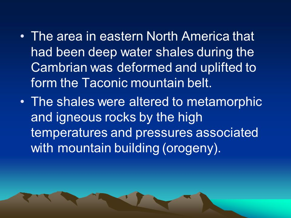 The area in eastern North America that had been deep water shales during the Cambrian was deformed and uplifted to form the Taconic mountain belt.