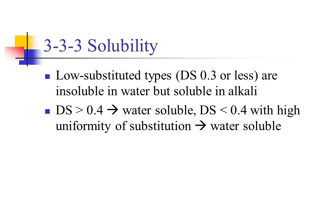 3-3-3 Solubility Low-substituted types (DS 0.3 or less) are insoluble in water but soluble in alkali.