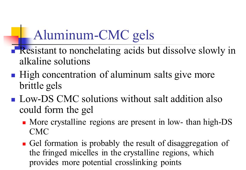 Aluminum-CMC gels Resistant to nonchelating acids but dissolve slowly in alkaline solutions.