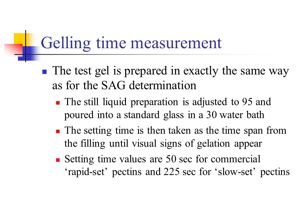 Gelling time measurement