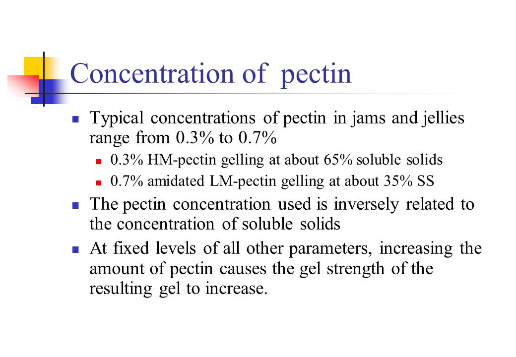 Concentration of pectin