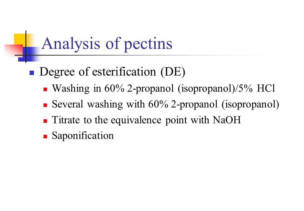 Analysis of pectins Degree of esterification (DE)