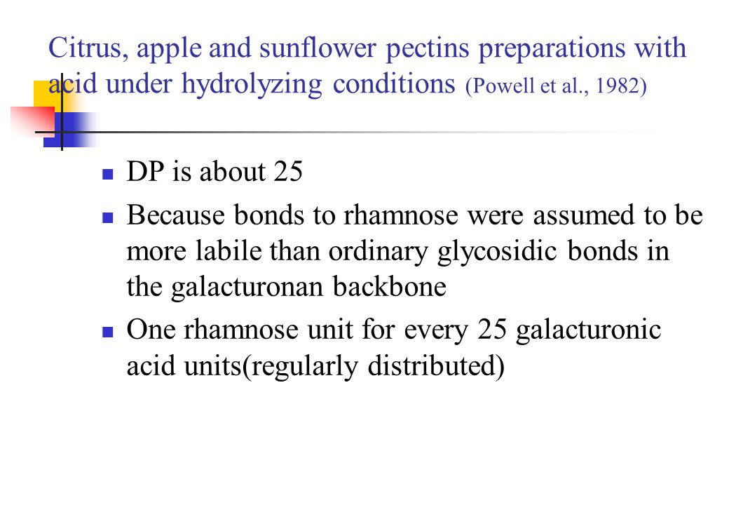 Citrus, apple and sunflower pectins preparations with acid under hydrolyzing conditions (Powell et al., 1982)