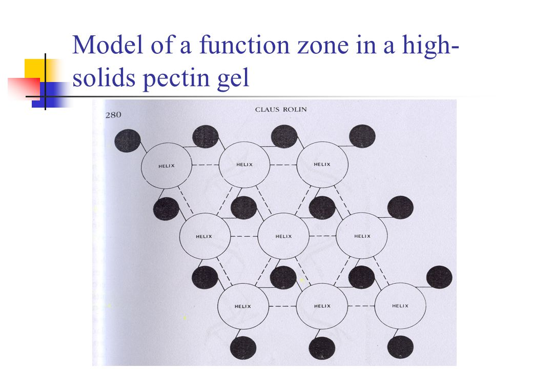 Model of a function zone in a high-solids pectin gel