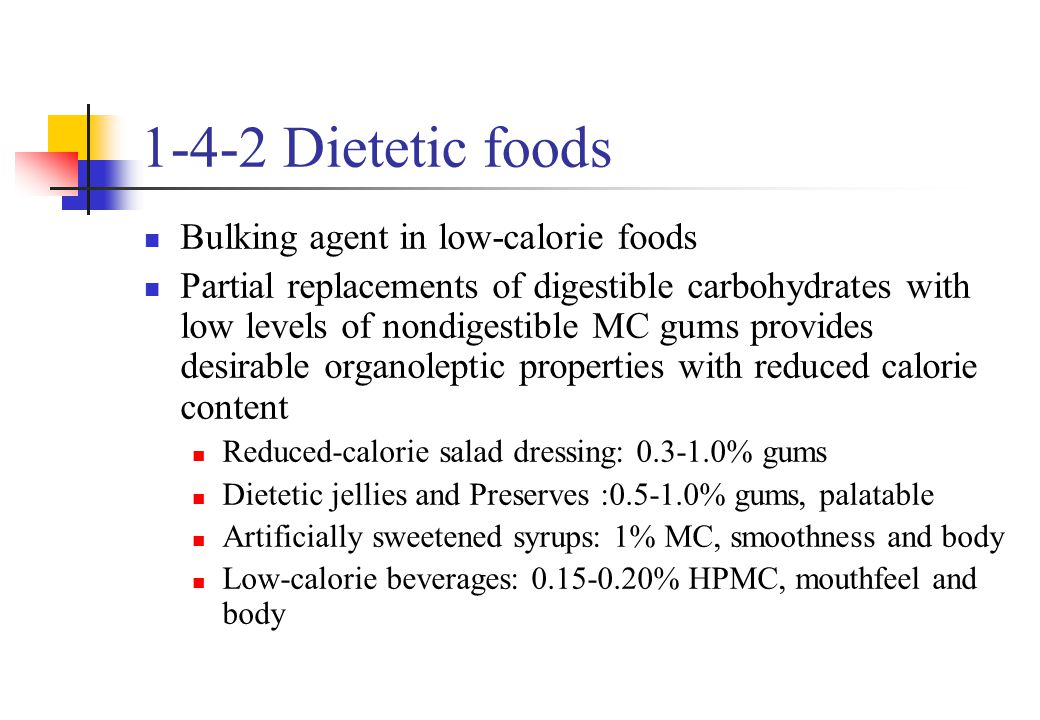 1-4-2 Dietetic foods Bulking agent in low-calorie foods