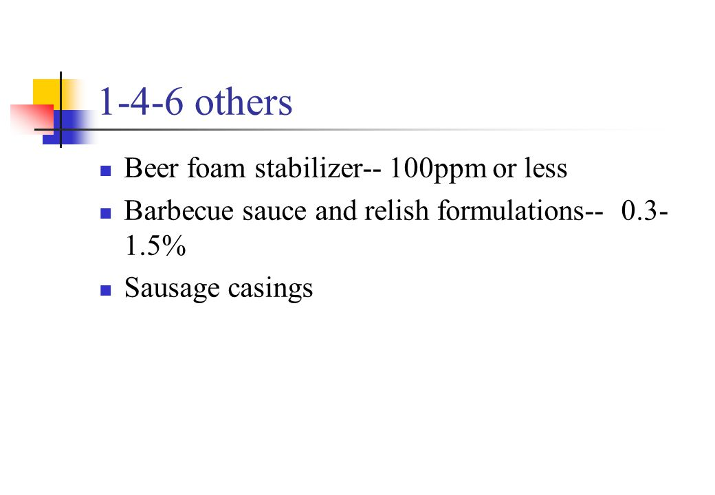 1-4-6 others Beer foam stabilizer-- 100ppm or less