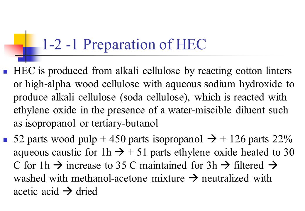 1-2 -1 Preparation of HEC
