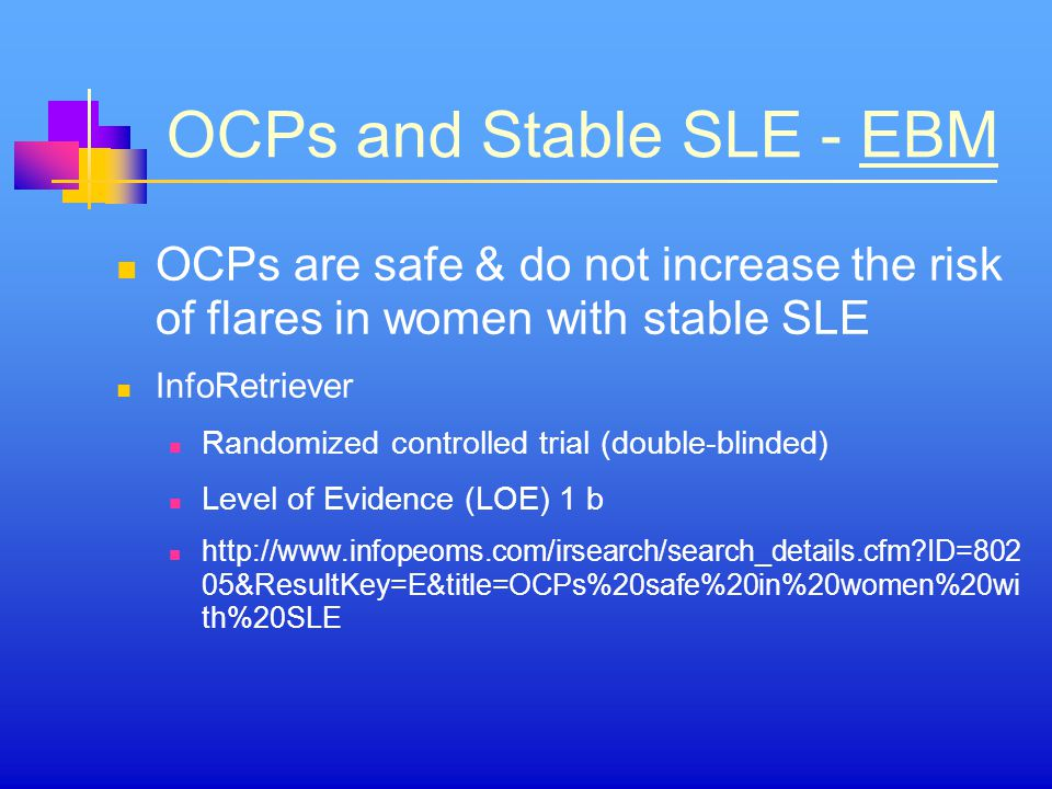 OCPs and Stable SLE - EBM