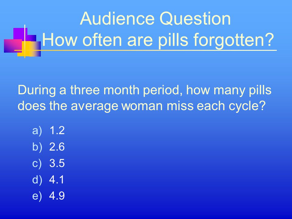 Audience Question How often are pills forgotten